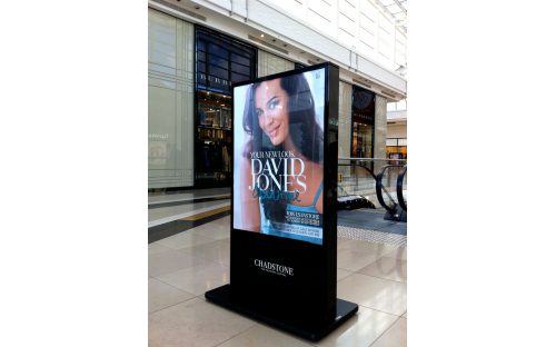 Printed sign insert for directional sign for David Jones stores