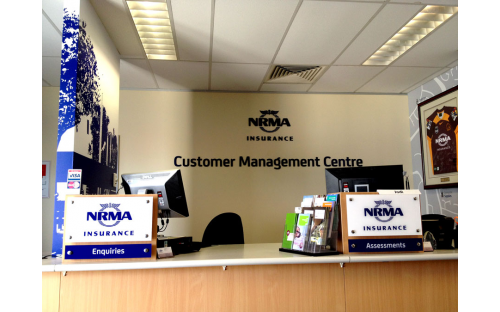 NRMA Insurance 3D precision cut lettering and vinyl internal wall signage applications