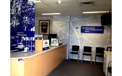 NRMA Insurance interior wall vinyl and Acrylic 3D lettering
