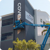 Covey 3D precision cut lettering professional installation of external signage