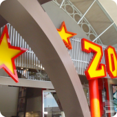 Red Zoo facia shop frontage 3D lettering illuminated external retail sign