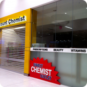 Discount Chemist facia shop frontage 3D lettering illuminated external retail sign